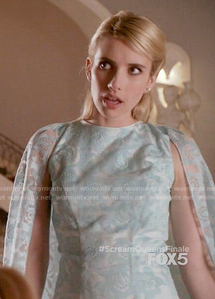 Chanel's blue paisley caped dress on Scream Queens