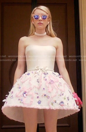 Chanel's structured strapless dress on Scream Queens