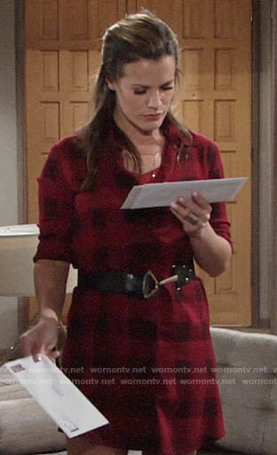 Chelsea's red checked shirtdress on The Young and the Restless