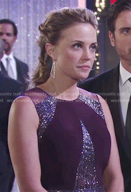 Sage's purple embellished gown at Abby's wedding on The Young and the Restless
