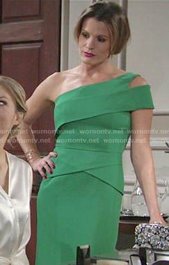 Chelsea's green one-shoulder gown at Abby's wedding on The Young and the Restless