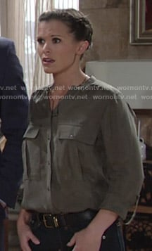 Chelsea's green button down shirt on The Young and the Restless
