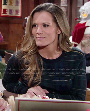 Chelsea's green plaid sweater on The Young and the Restless
