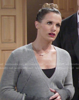 Chelsea's grey v-neck colorblock sweater on The Young and the Restless