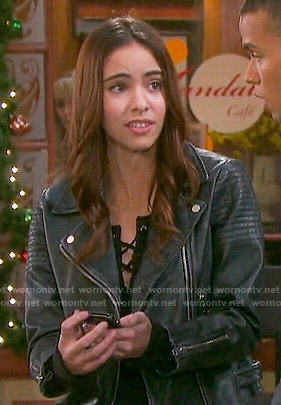 Ciara's leather biker jacket on Days of our Lives