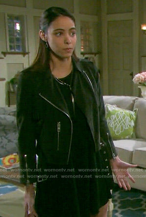 Ciara's suede fringed moto jacket on Days of our Lives