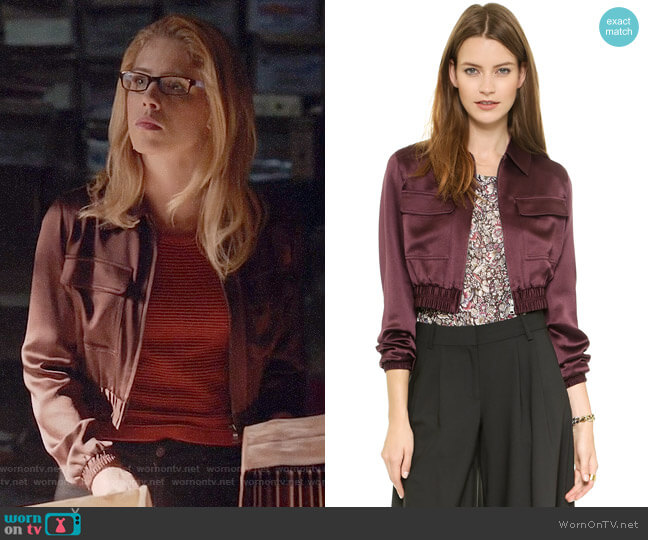 Club Monaco Seraphina Cropped Bomber Jacket worn by Felicity Smoak (Emily Bett Rickards) on Arrow