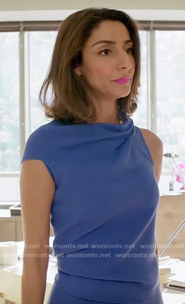 Delia's blue draped dress on Girlfriends Guide to Divorce