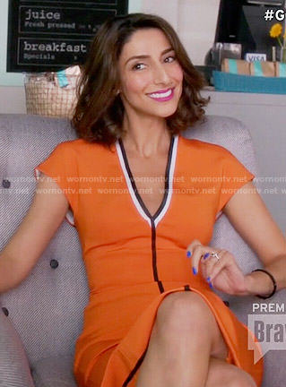 Phoebe's tan dress with black stripes on Girlfriends Guide to Divorce