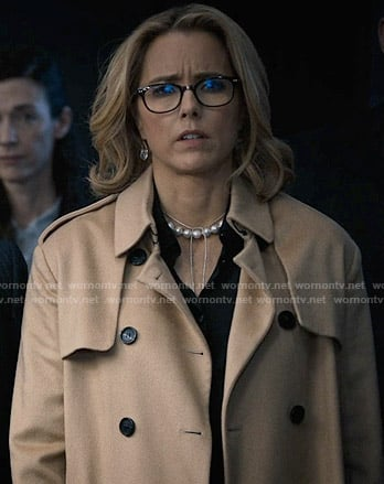 Elizabeth's camel trench coat on Madam Secretary