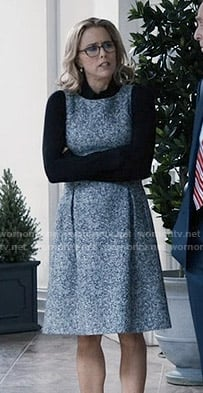 Elizabeth's tweed dress with pleats on Madam Secretary