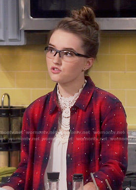 Eve's red plaid shirt with embroidered dots on Last Man Standing