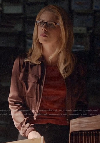 Felicity's red striped top and cropped burgundy jacket on Arrow