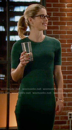 Felicity's green perforated dress on The Flash