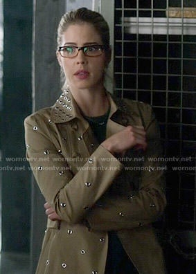Felicity's grommet studded trench coat on The Flash