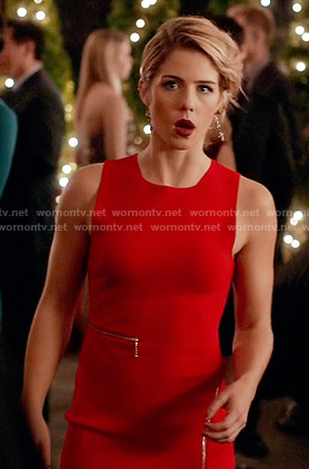 Felicity's red zip detail dress on Arrow