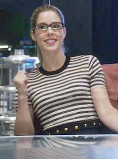 Felicity's striped and studded dress on The Flash