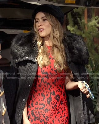 Gloria's red leopard print dress and black fur collar coat on Modern Family