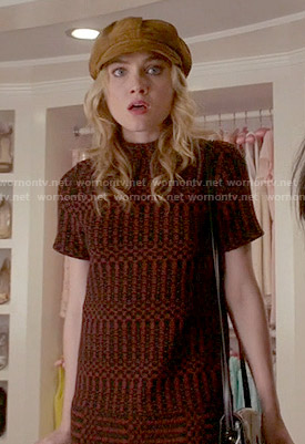 Grace's orange patterned short sleeve shift dress on Scream Queens