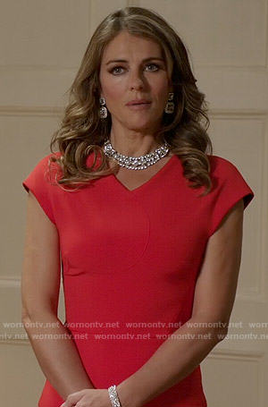 Queen Helena's red v-neck dress on The Royals