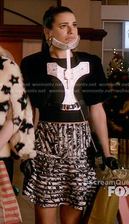 Hester's black and white striped skirt on Scream Queens