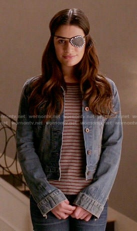 Hester's grey and red striped t-shirt and denim jacket on Scream Queens