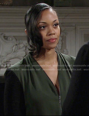 Hilary's olive green zip front blouse on The Young and the Restless