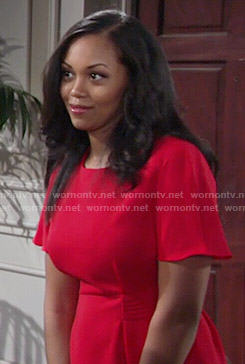 Hilary's red peplum blouse on The Young and the Restless