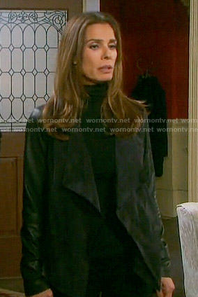 Hope's drape front jacket with leather sleeves on Days of our Lives