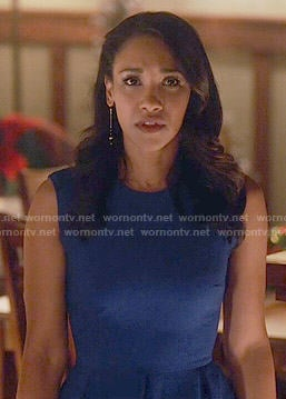 Iris's blue pleated dress on The Flash