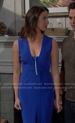Ivy's blue split-front dress on The Bold and the Beautiful