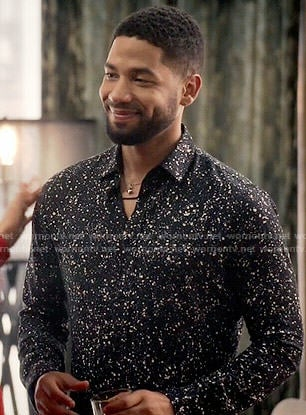 Jamal's black paint splatter print shirt on Empire