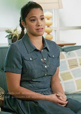 Jane's denim shritdress on Jane the Virgin