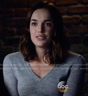 Jemma's grey v-neck sweater on Agents of SHIELD