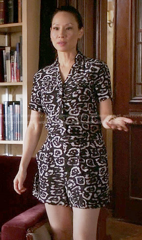 Joan's black and white leopard print romper on Elementary