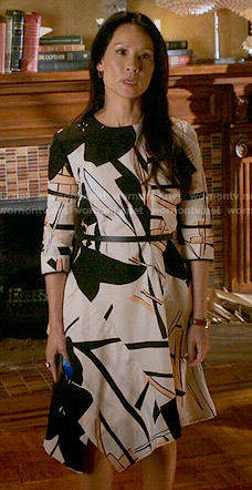 Joan's abstract print asymmetric dress on Elementary
