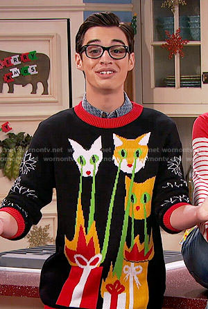 Joey's laser beam cats Christmas sweater on Liv and Maddie