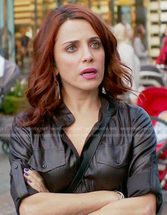 Jo's black wet-look romper on Girlfriends Guide to Divorce