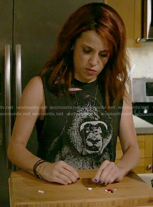 Jo's gorilla graphic tank top on Girlfriends Guide to Divorce