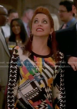 Jo's multi-colored abstract print long sleeve dress on Girlfriends Guide to Divorce