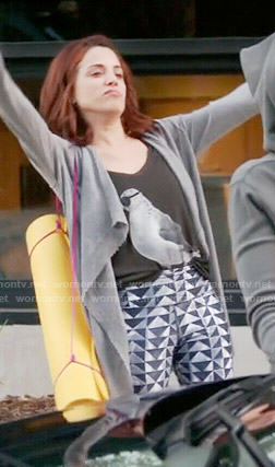 Jo's seagull tank top and triangle print pants on Girlfriends Guide to Divorce