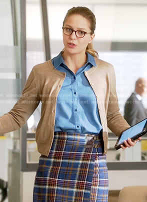 Kara's plaid wrap skirt on Supergirl