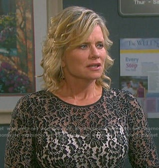 Kayla's black lace overlay dress on Days of our Lives