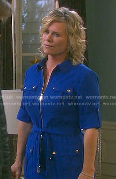 Kayla's blue zip front shirtdress on Days of our Lives