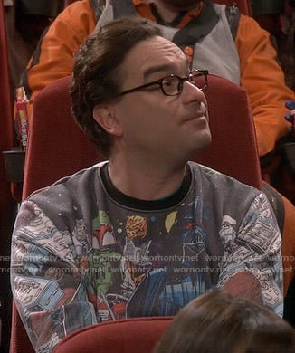 Leonard's Star Wars: Empire Strikes Back print sweatshirt on The Big Bang Theory