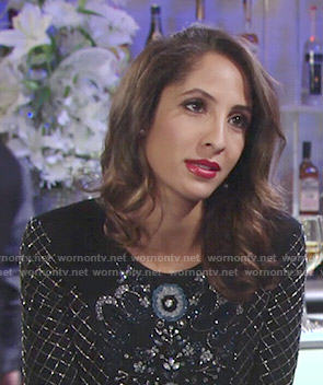 Lily's embellished long sleeve dress at Abby's wedding on The Young and the Restless