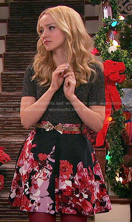Liv's black and pink floral skirt and metallic top on Liv and Maddie