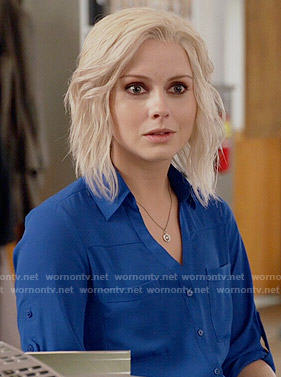 Liv's blue button down top on iZombie