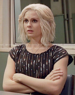 Liv's black arrow print top on iZombie