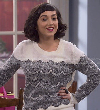 Mandy's white sweater with black lace on Last Man Standing